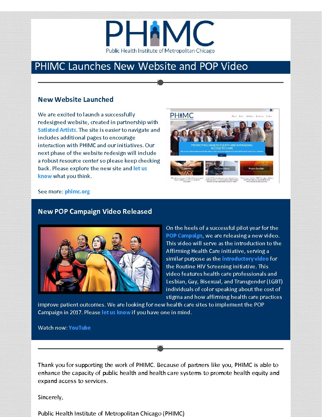 PHIMC Launches New Website and POP Video